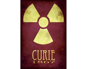 Marie Curie 24x36 Science Art Print - Rock Star Scientist Poster, Steampunk Radioactive Symbol