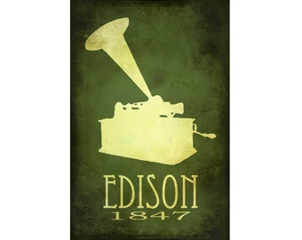 Thomas Edison 12x18 Steampunk Art Print, Rock Star Scientist Phonograph Illustration Science Poster