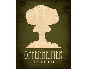 Science Art Print 8x10 - Oppenheimer Atomic Bomb, Geek Art, Nerd Art, Steampunk Art, Rock Star Scientist Art, Geek Decor, Scientific Poster