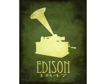 Thomas Edison 11x14 Steampunk Rock Star Scientist Poster Fine Art Print