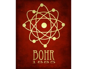 16x20 Science Poster Art Print Atomic Structure Niels Bohr Nucleus Steampunk Rock Star Scientist Geek Chic Decor Nerd Scientific Diagram