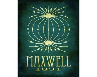 8x10 Science Art Print James Maxwell Steampunk Rock Star Scientist Poster Geek Scientific Educational Diagram Electromagnetic Physics Math