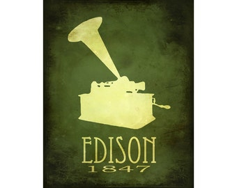 Edison 8x10 Print, Steampunk Science Art  - Thomas Edison Rock Star Scientist, Phonograph Illustration Diagram - Educational Poster
