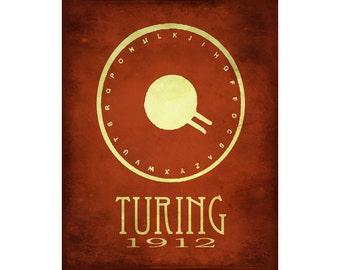 24x36 Alan Turing Art Print - Science Poster  Code Breaker - Steampunk Rock Star Scientist Poster - Computer Geek Print, World War 11 Cypher