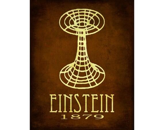 16x20 Albert Einstein Science Art Print Relativity Geek Chic Diagram Wormhole Space Decor Scientific Rock Star Scientist Science Poster