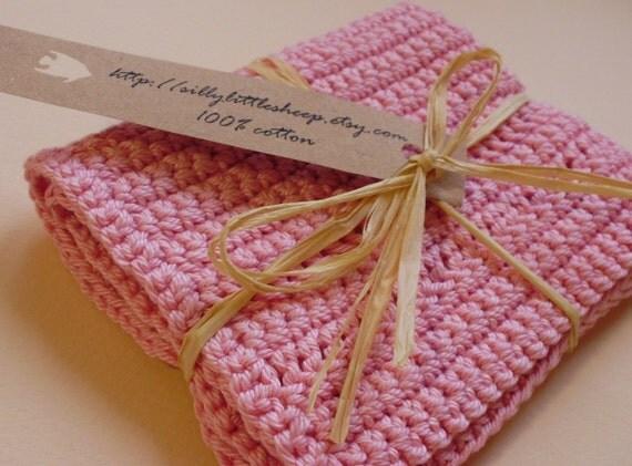 100% cotton washcloth or dishcloth in pink