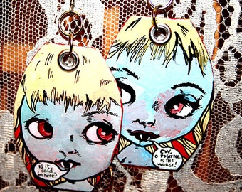 Cute Vampire Blythe Doll Comedy painted earrings in blue red silver
