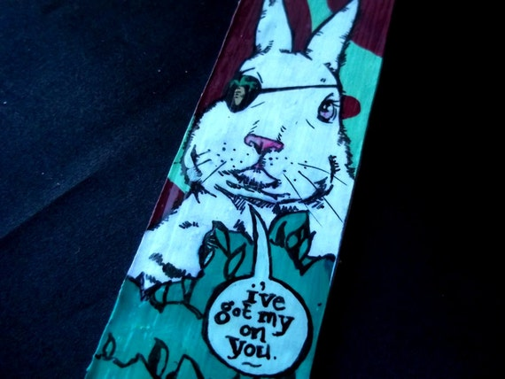Pirate Easter Bunny Rabbit  painted canvas bracelet has his eye on you