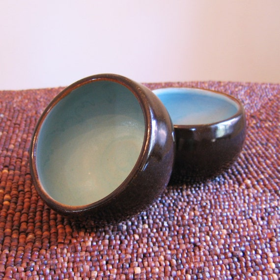 Chocolate and Aqua Tea Bowls