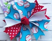 Boutique Red and Blue Baseball Spike Hair Bow