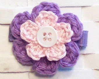 Boutique Tropic Lilac and Light Pink Crochet Hair Flower Clippie
