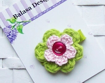 Boutique Lime and Pink Preppy Crochet Hair Flower Bow Clippie
