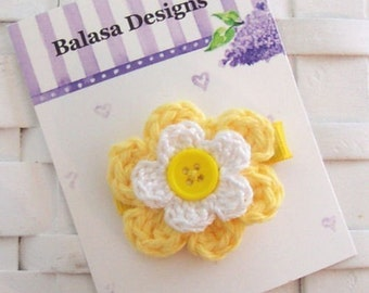Boutique Yellow and White Daisy Crochet Hair Flower Bow Clippie