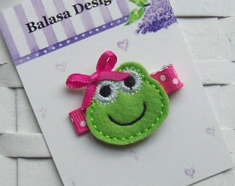 Lime and Hot Pink Embroidered Felt Frog Hair Clippie