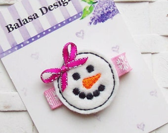 Pink Christmas Winter Felt Snowman Face Hair Clippie