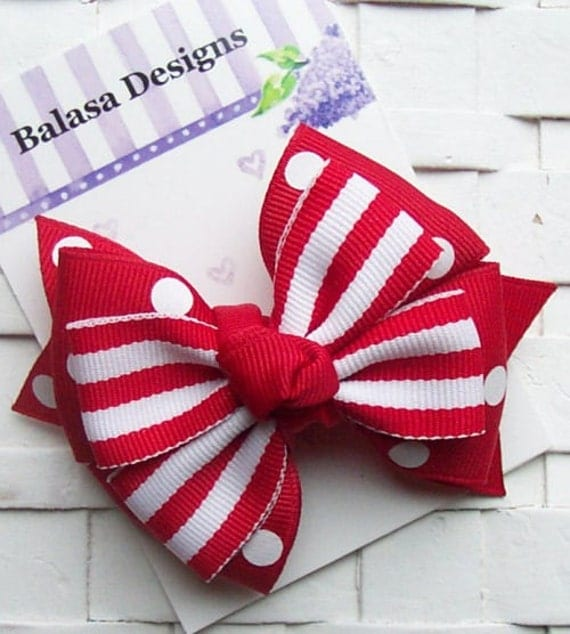 Boutique Red Dots and Stripes Layered Hair Bow