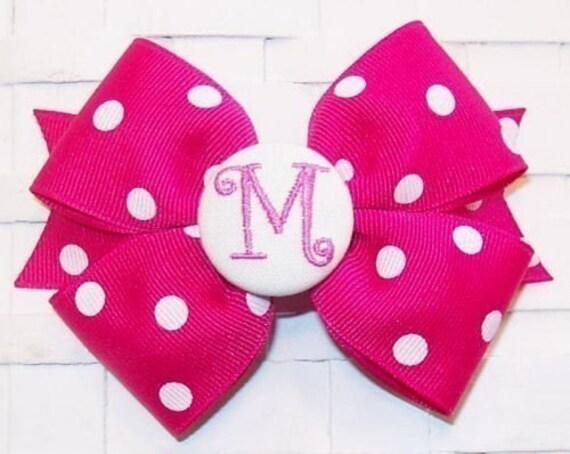 Boutique Shocking Pink Polka Dot Monogram Initial Hair Bow