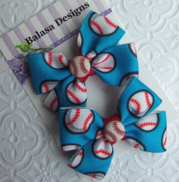 Boutique Blue Baseball Hair Bow Pair