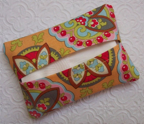 Boutique Apricot Star Paisley Travel Tissue Cover