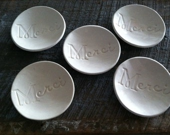 Bridesmaids Gifts or Wedding Favors Merci Ring Dishes a Set of 6