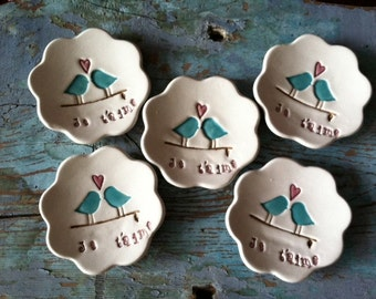 Bridesmaids Gifts Wedding Favors Ring Dish Ring Bowl Jewelry Holder Maid of Honor Gift  Je Taime Love birds  Set of 5