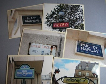 Paris Signs Photo Card Lot