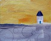 Blue Door- Signed Fine Art Print - house,landscape, yellow, gray