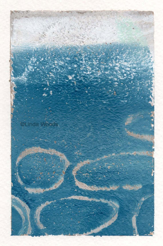River Walk- Signed Original Abstract Art - Blue, Gray, White, Circles, Contemporary