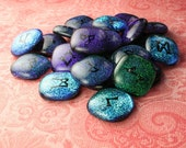 Dichroic Runes in Purple Teal and Aqua