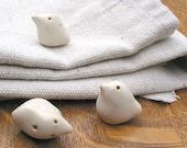 Set of 3 creamy white peace dove bird ceramic stoneware Christmas ornaments