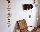 Mudpuppy Moon wind chimes organic hanging disc bells sculpture - natural buff stoneware -READY TO SHIP