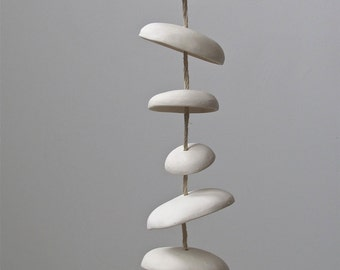 Mudpuppy Moon chimes organic hanging disc bells garden sculpture in Natural Buff Stoneware - Half Stack