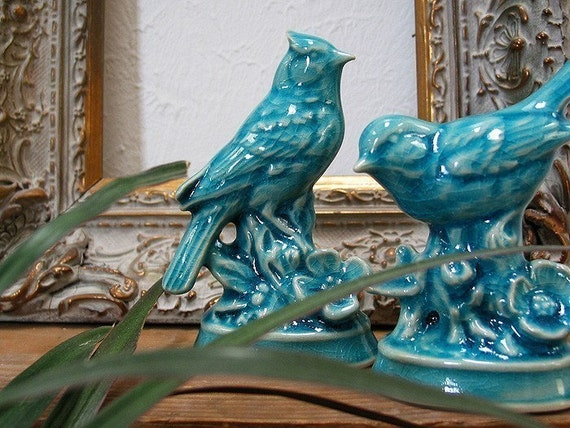 Arboretum Series - Ceramic Blue Jay with Peking Turquoise Blue crackle glaze