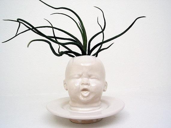 Modern White Baby Head Vase / Planter by Mudpuppy