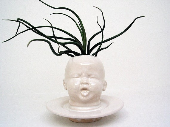 Modern White Baby Head Vase / Planter by Mudpuppy