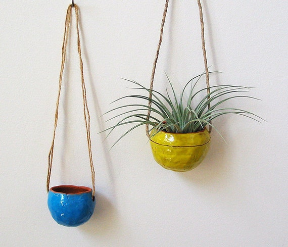 Hanging Terracotta Pots: Terracotta Hanging Planter Pot Vase With Bright Yellow Glaze
