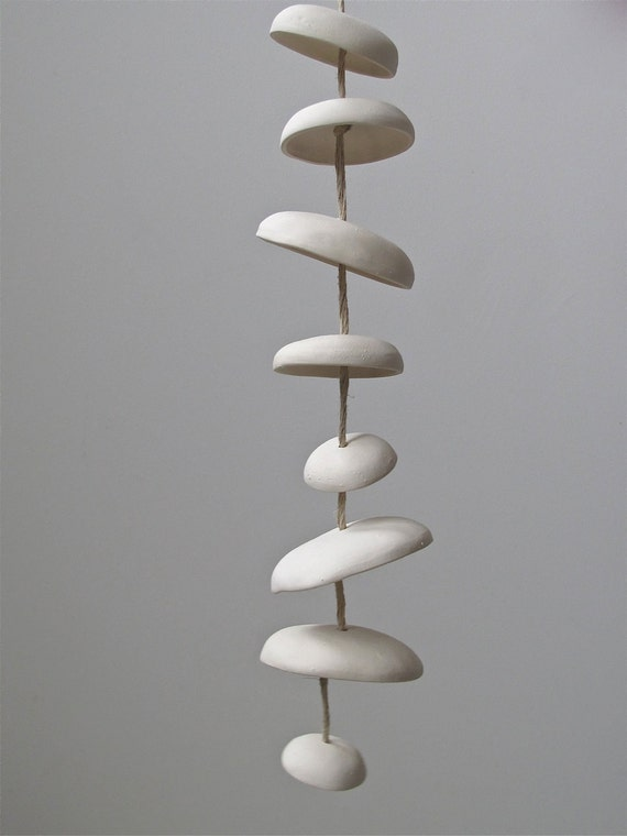Mudpuppy Moon Chimes - natural modern minimalist hanging garden sculpture ornament - half stack