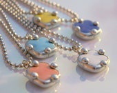 Colorful Candy Clover Tile Pendants Pink Light Blue Dark Blue White Yellow Silver Balls Ball Chain Small Simple Bohemian Modern Fun Rainbow