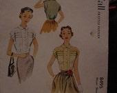 1951 McCalls 8495 pattern Misses Blouse Size 12 Bust 30