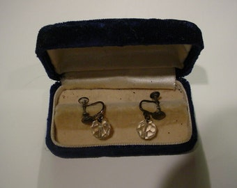 REDUCED  Antique Screwback Sterling Silver Crystal drop balls earrings