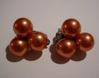 Vintage costume jewelry clip on earrings tangerine