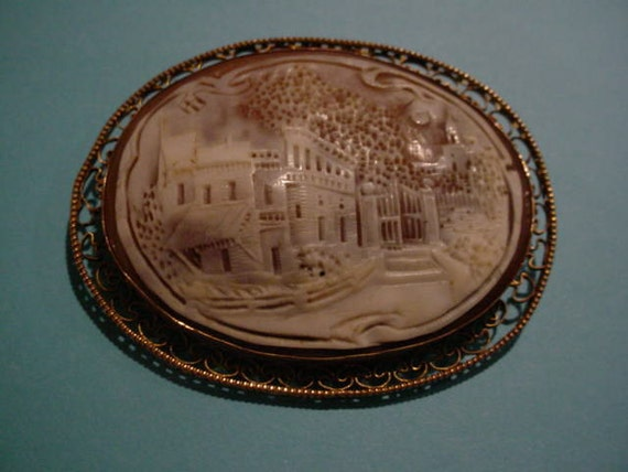 Antique Brooch Relief Carving
