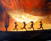 Kokopelli Flute Player Sunset  Indian Theme Free Shipping