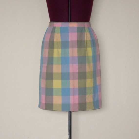 vintage pastel plaid knee length skirt by sweetheart on etsy
