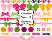 Rosettes, Bows and Buttons clipart, Decorative gift wrap bows in green, hot pink, yellow INSTANT DOWNLOAD