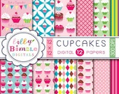 40% off Cupcake Digital scrapbook papers for birthday invites, toppers, cupcake paper, Instant Download