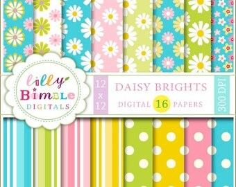 80% off Daisy Digital Paper daisies, scrapbooking, Spring paper, polka dots, turquoise, green, pink