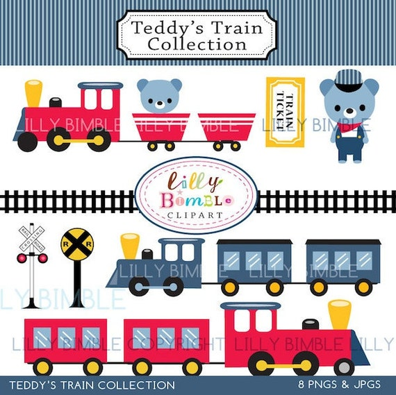 80% off Train Clipart for Birthday invites, cards and crafts red trains, bears, cute Instant Download