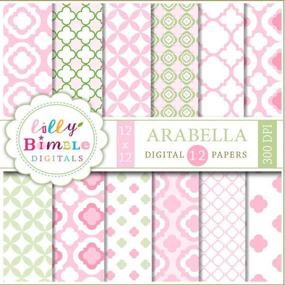 80% off Pink and green quatrefolil digital papers modern baby scrapbooking INSTANT DOWNLOAD Arabella