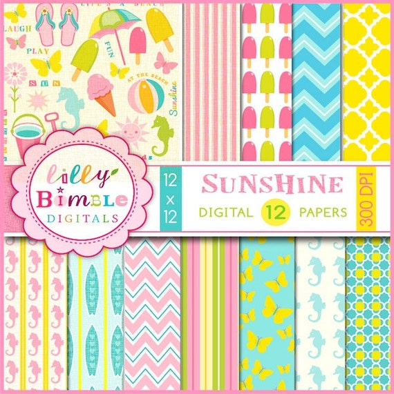 50% off Beach digital papers with surfboards, seahorses, flip flops, ice cream Summer INSTANT DOWNLOAD